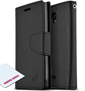 Sharp Aquos Crystal Wallet Case [Black] Slim & Protective Flip Cover Diary Case w/ ID Slots & Magnetic Flap Closure - Keep Everything in One Place! [Perfect Fitting Sharp Aquos Crystal Case]
