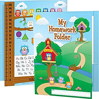 """Really Good Stuff Owl Homework Folders, 9½"""" by 12"""" (Set of 12) – Laminated 2-Pocket Folders with Learning Tools – Pockets Labeled Keep It at Home and Bring It Back – Helps Students Organize Work"""