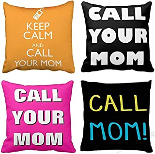 Emvency Set of 4 Throw Pillow Covers Call Your Mom Keep Calm Funny Colourful Hot Pink Black Decorative Pillow Cases Home Decor Square 16x16 Inches Pillowcases