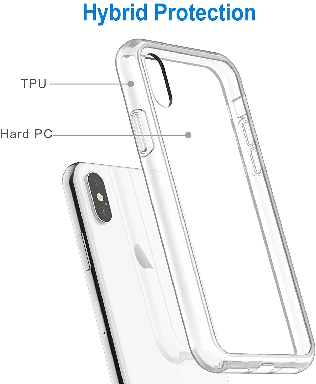 JETech Case for iPhone Xs and iPhone X, Shockproof Bumper Cover, HD Clear