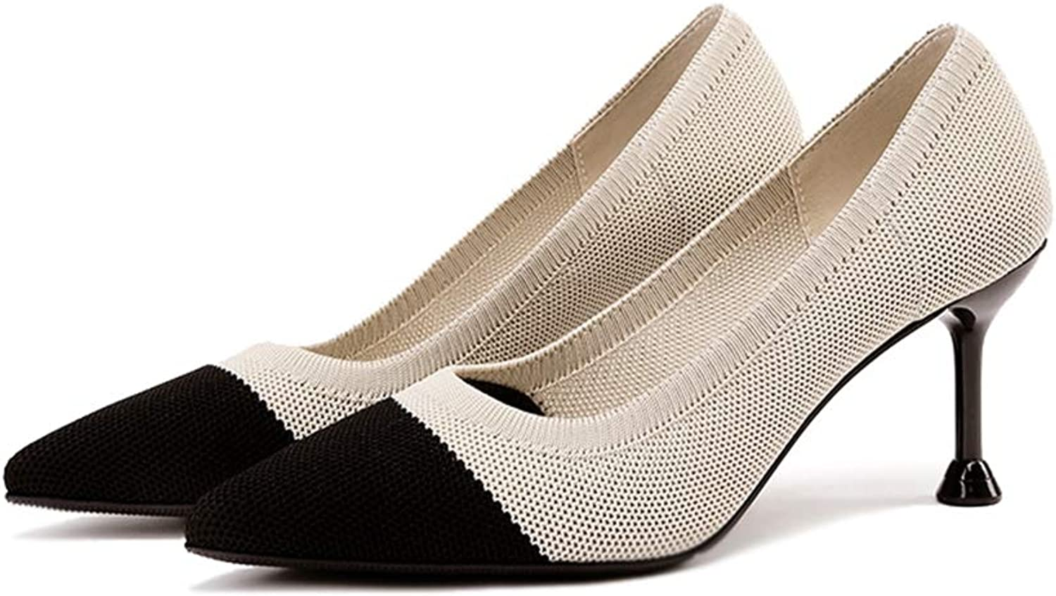 Sam Carle Women's Pumps, Stylish Knitted Anti-Slip Kitten Heel Black Apricot Formal shoes
