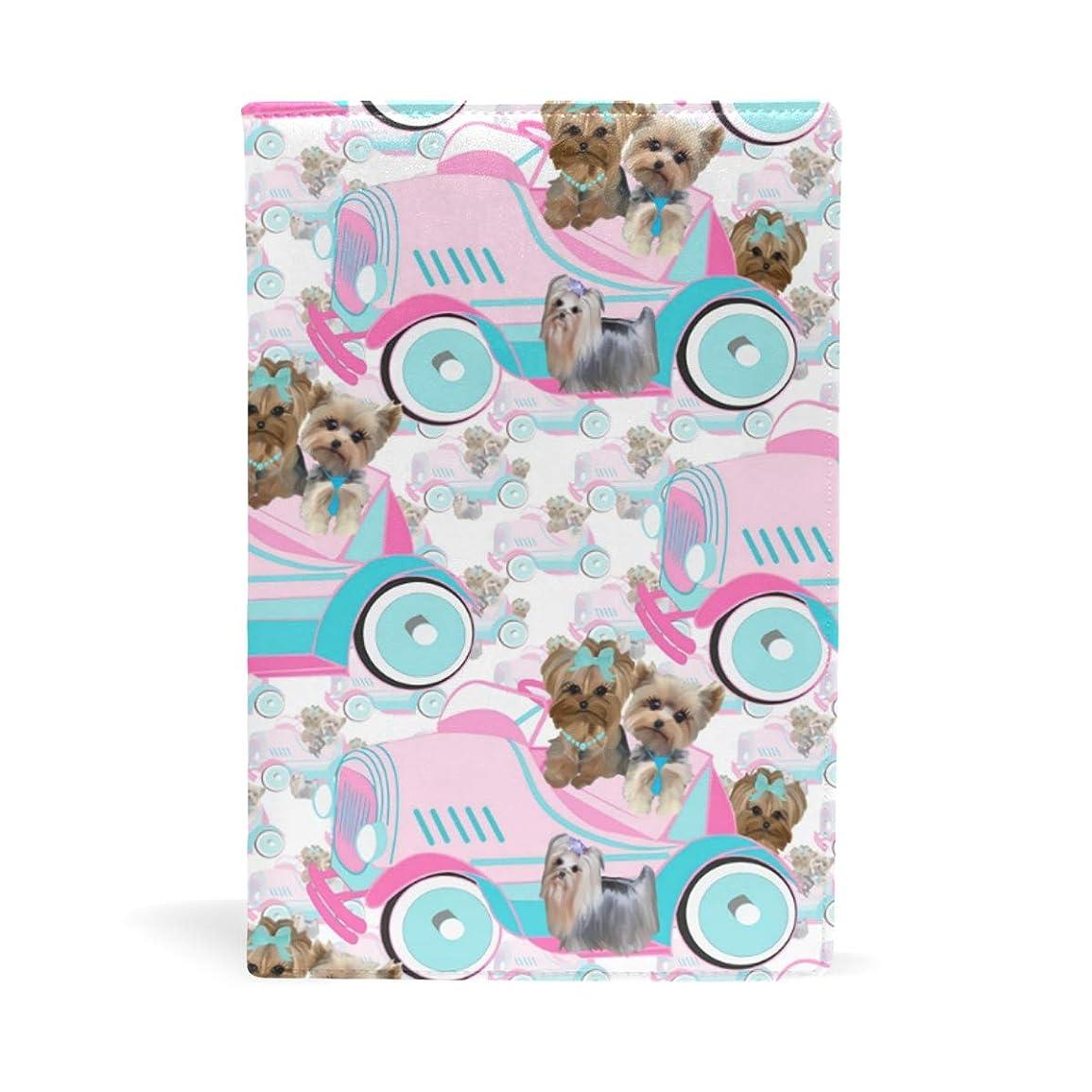 ためにメドレー凍結ヨークシャーテリア ピンクの車 ブックカバー 文庫 a5 皮革 おしゃれ 文庫本カバー 資料 収納入れ オフィス用品 読書 雑貨 プレゼント耐久性に優れ