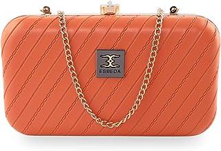 ESBEDA Orange Color Line Texture Box Clutch For Women