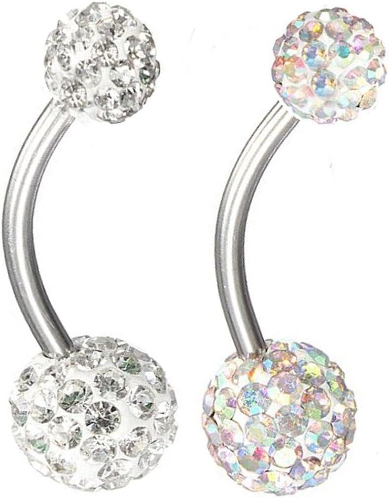 Thenice 2 Pcs 16g 1.2mm Full Crystal Ball Navel Ring Belly Button Body Piercing Ear Stud