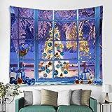 Wifehelper Hogar Tapiz de Navidad Decoración Colgante de Pared Árbol de Navidad Manta Colgante Alfombra para Dormitorio Decoración de Fiesta 150x150cm