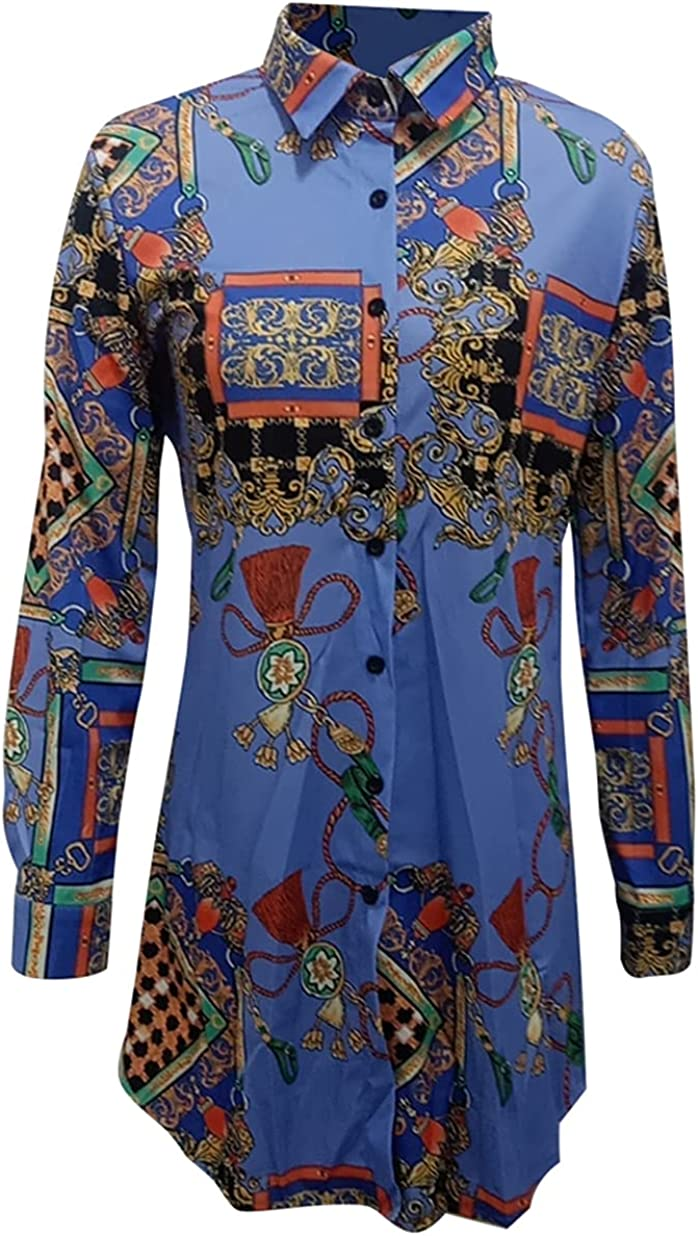 Shirts Dresses for Women Button Down - Floral Long Sleeve Blouse Tops Mini Dress
