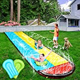 KEEDI 20FT Slip and Slide, Lawn Water Slides with 2 Boogie Boards, Garden Backyard Giant Racing Lanes with Sprinklers for Backyard and Outdoor Water Toys Play