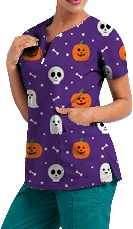 MASZONE Scrub_Top for Womens Halloween Pumpkin Ghost V-Neck Workwear Top Short Sleeve T-Shirts Nurses_Tunic Work Uniform