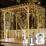 LE Cortina Luces LED 3x3m 300 LED, USB o PILAS, Cadena de Luces Blanco cálido, 8 Modos Luz, Impermeable Interior y Exterior,...