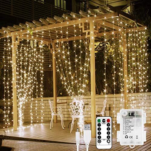 LE Lichtervorhang 3 * 3m, USB Lichterketten Vorhang 300 LEDs Warmweiß, 8 Modi Dimmbare Kupferdraht, Lichterkette Batterie für Außen Innen Deko...