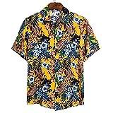 Neufigr Camisa hawaiana casual salvaje para hombre con botones tropicales, amarillo, L
