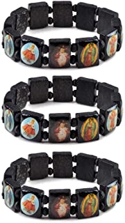 yantu Elastic Strechable Wooden Small Panel Bracelet with Images of Religious Saints, Jesus and Rosary