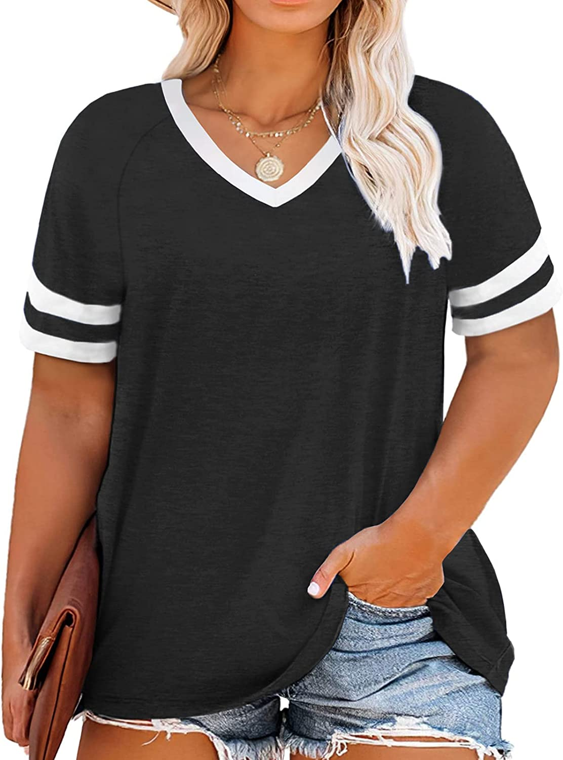 VISLILY Womens Plus-Size Tops Summer V Neck T Shirts Striped Short Sleeve Tee