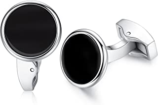 HONEY BEAR Round White Sea Shell/Black Onyx Agate Stone Cufflinks - Stainless Steel for Mens Shirt Wedding Business Gift