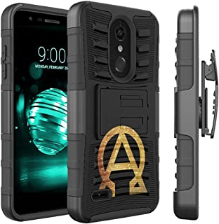 Capsule Case Compatible with LG K30, LG K10 2018, LG Premier Pro LTE [Dual Layer Combat Armor Kickstand Holster Combo Case Black] for LG K10 (2018), LG K30 (X410) - (Alpha and Omega)