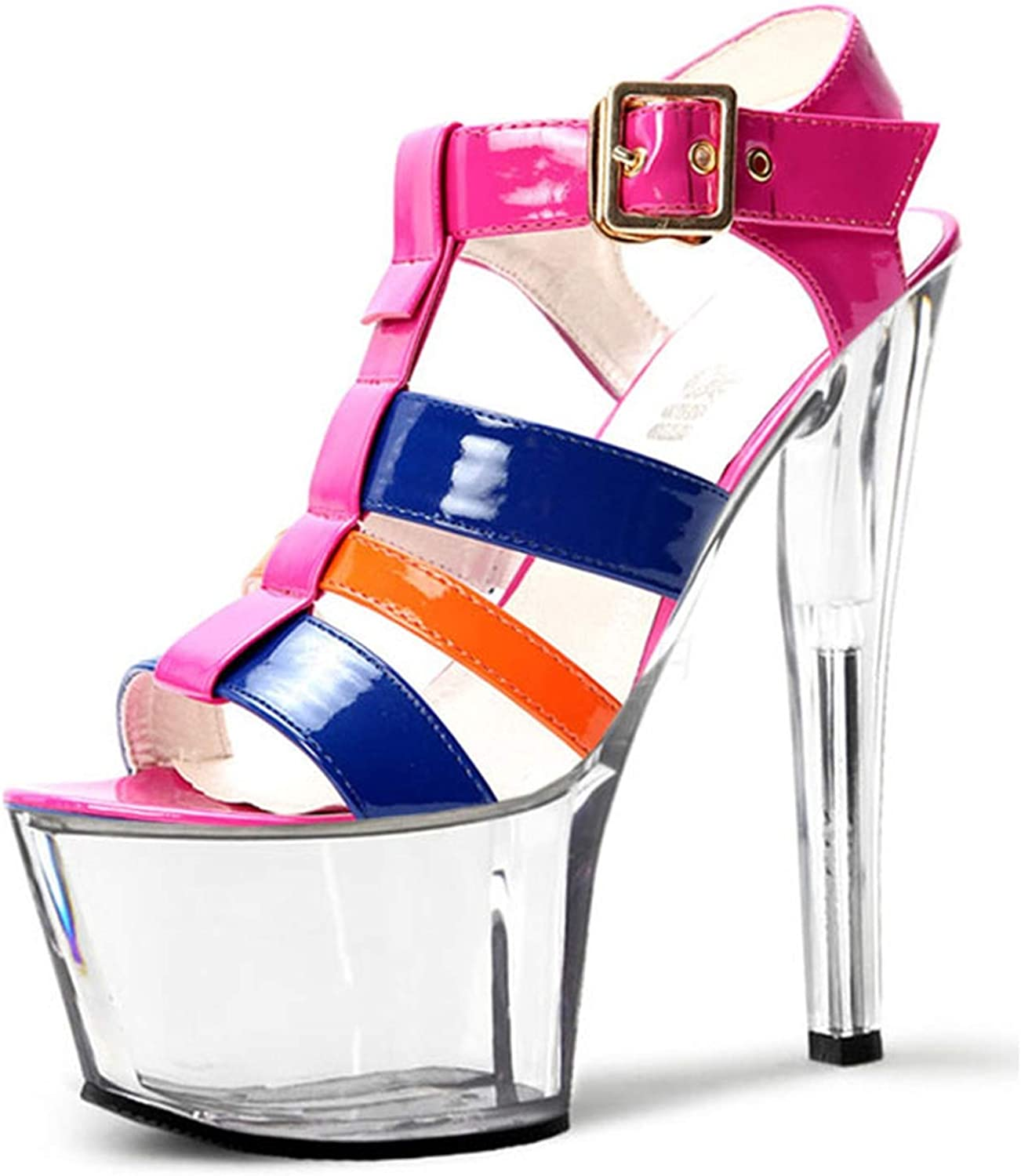 color Stage Size and Sandals,15 cm, Heel High shoes, Transparent Waterproof Platform,02,12