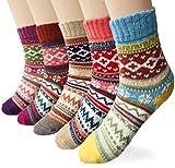Loritta 5 pares de calcetines de lana para mujer, estilo vintage, suaves, cálidos, de lana - - Talla única
