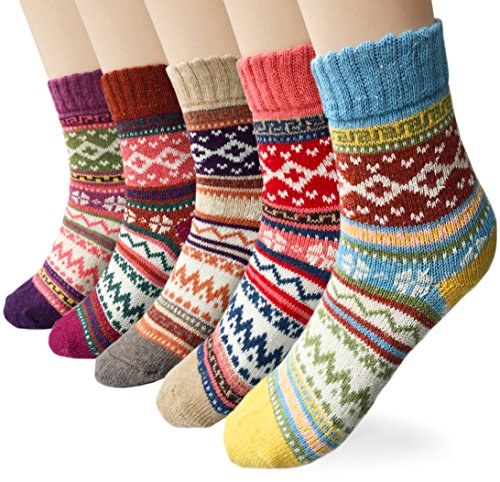 Loritta Women's 5 Pairs Vintage Style Winter Knitting Warm Wool Crew Socks, A-wave, Free size