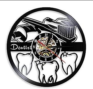 JKXIANSHENG Pasta De Dientes Higiene Bucal Muestra De Baño Reloj De Pared Dentista Disco De Vinilo Reloj De Pared Enfermera Dental Dentista Regalo