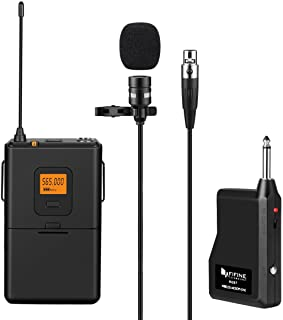 FIFINE 20-Channel UHF Wireless Lavalier Lapel Microphone System with Bodypack..