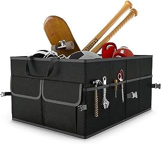 GLOBALDREAM Caja Maletero Coche, Organizador Maletero Coche Organizador de Almacenamiento Bolsas para Viajes Compras Almacenamiento Ordenado, Negro, 55 x 38 x 26cm