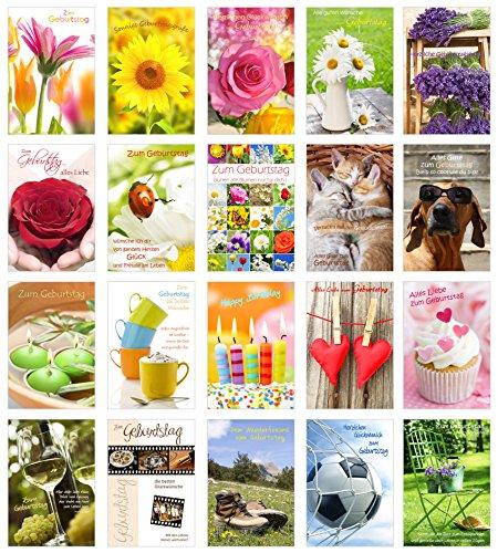 Set 20tarjetas de cumpleaños con sobres–Tarjeta de felicitación para cumpleaños–Tarjeta de cumpleaños con sobres–Happy Birthday–Tarjetas de felicitación (doble/–Tarjetas con sobres)