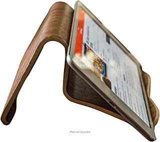 Natural Walnut Wood iPad and Cook Book Stand | Multi-Angle for iPhone, iPad Air/Pro, Surface Pro, Samsung Galaxy/Note, Google Nexus/Pixel, HTC, LG, Nokia, OnePlus, Kindle, E-Readers