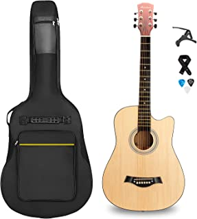 SHINEDOWN 38 inch Acoustic Guitar in Full Size Natural Beginner All Wood Cutaway Starter Set with Free Bag/Capo/Picks/Strap