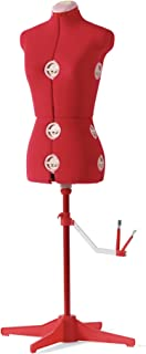 SINGER 12-Dial Fabric-Backed Medium Adjustable Dress Form, Red
