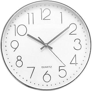Delgeo 30cm Horloge Murale Ronde Moderne Quartz Horloge Murale Silencieuse Adaptée au Salon Cuisine Chambre d'enfants Bure...