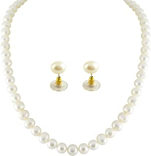 Trendy Souk Women's Single String AAA Quality, Round, Real Fresh Water, Hyderabadi Pearls Necklace Set