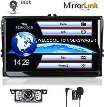 Car Stereo HD 9 Inch Double 2 Din GPS Navigation DVD auto Audio Video for VW Golf Passat Tiguan Polo Jetta Skoda Seat EOS+US Map+Camera+Mic Capacitive Screen