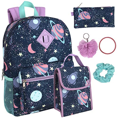 Girl's 6 in 1 Backpack Set With Lunch Bag, Pencil Case, Bottle, Keychain, Clip (Space party)