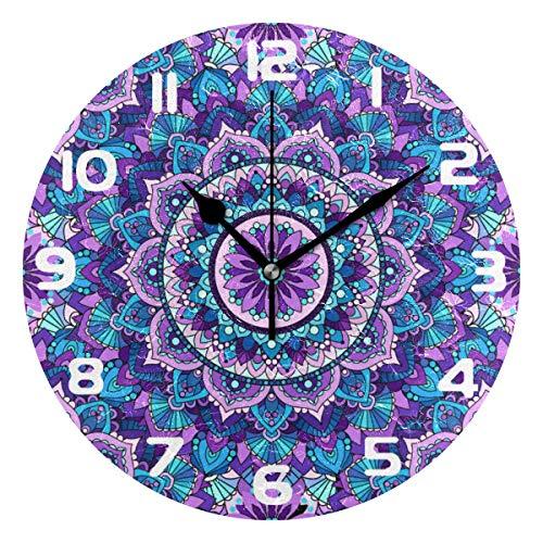 Hunihuni Wanduhr Mandala lila Blumenmuster geräuschlose Uhr für Schlafzimmer Wohnzimmer Home Office Decor