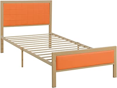Benzara BM171740 Wooden/Metal Frame Twin Bed with Leather Tufted Headboard and Footboard, Orange