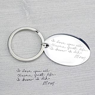 Handwriting Keychain with your Personalized Signature or Message, Personalized Gift Idea, Actual Handwriting, Oval Disk
