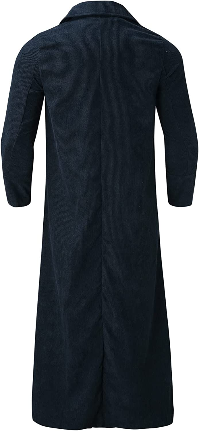 Men's Overcoats Winter Solid Color Long Sleeved Turn-Down Collar Trench Coats Windproof and Warm