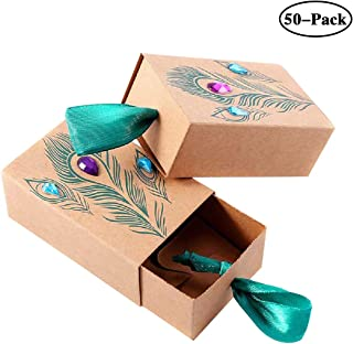 Faylapa 50 Sets Peacock Feather Candy Boxes,Drawer Design Gift Bag for Travel Theme Party,Wedding,Birthday,Bridal Shower