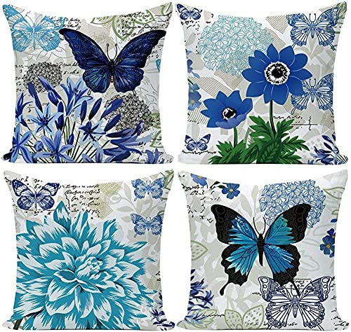 4 Piezas Fundas de Cojines, 70x70cm/28x28in Mariposa flor azul Throw Pillow Case Almohada de Lino Fundas de Almohada Decorativa Cuadrada Funda para Cojines para Hogar Oficina Coche Funda de Cojín R939