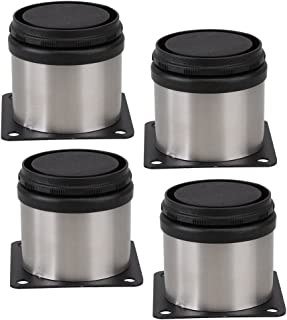 Buckles & Hooks Furniture Metal Adjustable Stainless Steel Feet Round Black And Silver 50 X 50mm Pack Of 4 Fancy Colours