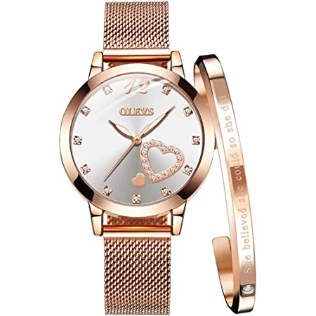 Casual Wrist Watches for Lady Small Case Analog Quartz Stainless Steel Rose Gold//Silver Mesh Strap Womens Quartz Watch