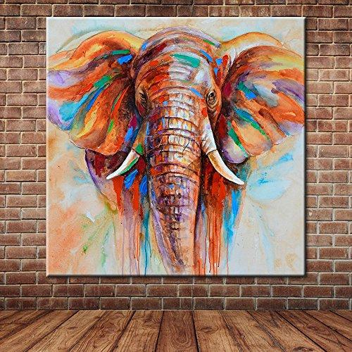 IPLST@ Afrikanischer Elefant-niedlicher Tier-Ölgemälde-Segeltuch-Kunst Großes Wandgemälde-Bild-Dekoration -24x24inch (kein Rahmen, ohne Bahre)
