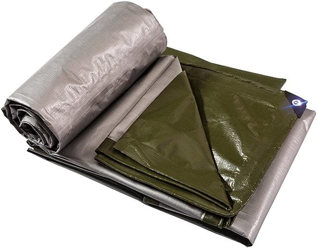 LAXF-Imperméable Bache étanche avec Oeillets métalliques et Bords renforcés pour Toit, Camping, extérieur, Patio, réversible, Vert, 180G   m2, 9 Tailles Disponibles