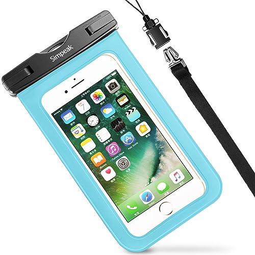 "(IPX8 Certificato)Custodia Impermeabile Subacquea Universale per Smartphone 5.8"",Simpeak Borsa Waterproof Cover Impermeabile per iPhone XS/8 Plus/iPhone X, Samsung S9 / S8 Huawei 5.8"" Smartphone, Blu"