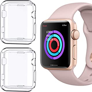 [2 Pack] Compatible for Apple Watch Series 1 38mm Case, iMieet Soft TPU Screen Protector All-Around Protective 0.3mm HD Clear Ultra-Thin Cover Case for Apple Watch 38mm Series1