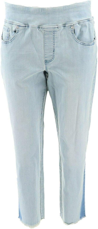 Belle Kim Gravel TripleLuxe Shadow Cropped Jeans Light Wash 22W New A350470