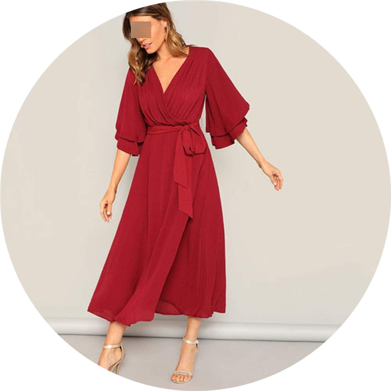 White Island Burgundy Ruffle Layered Bell Sleeve Surplice Wrap Belted Maxi Dress Women Modest V Neck High Waist Long Dress