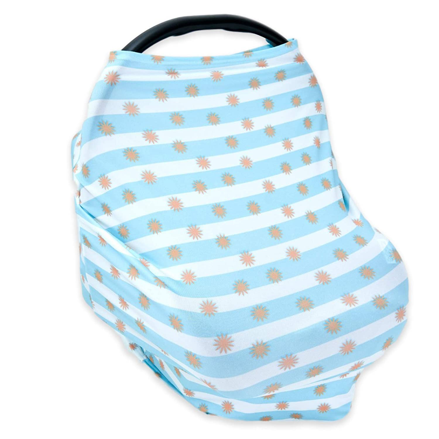 PPOGOO Nursing Cover for Breastfeeding Super Soft Cotton Multi Use for Baby Car Seat Covers Canopy Shopping Cart Cover Scarf Light Blanket Stroller Cover Blue Flower