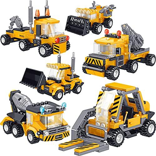 Gxi Roboter Bausteine Spielzeug ab 6 7 8 9 10 Jahren, 6-in-1 DIY Engineering Trucks 718 Teile STEM Konstruktionsspielzeug Gebäude Lernspielzeug Pädagogisches Geschenk für Jungen und Mädchen