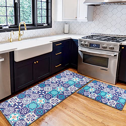 AGELMAT Kitchen Mat,2PCS Easy Clean Kitchen Rug Set Anti Fatigue Memory Foam Kitchen Rugs and Mats Water Proof Surface Carpet No Slip Throw Rug for Floor Laundry Office Sink,Blue